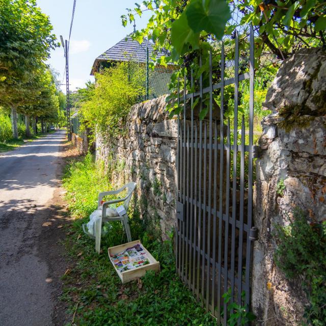 Devant les jardins au bord du Lot à Cajarc